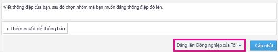 Ảnh chụp màn hình nguồn cấp Chú thích của Ứng dụng Yammer cho SharePoint với menu thả xuống Đăng lên được tô sáng