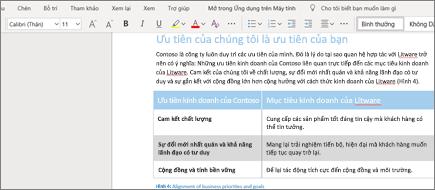 Định dạng văn bản trong Word Online
