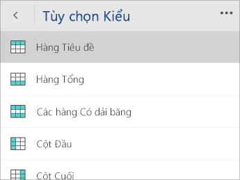 Ảnh chụp màn hình menu Tùy chọn Kiểu với tùy chọn Hàng Tiêu đề đã chọn.