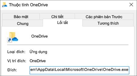 Ảnh chụp màn hình hiển thị menu thuộc tính của ứng dụng OneDrive.