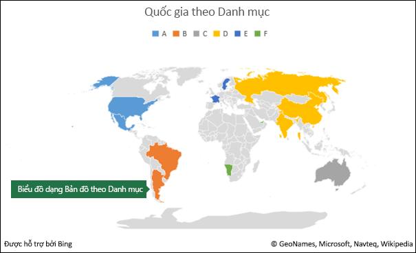 Biểu đồ dạng Bản đồ theo Danh mục trong Excel