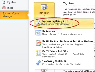 Lệnh Tùy chỉnh Loại Bản ghi trong Business Contact Manager trong dạng xem Backstage của Outlook