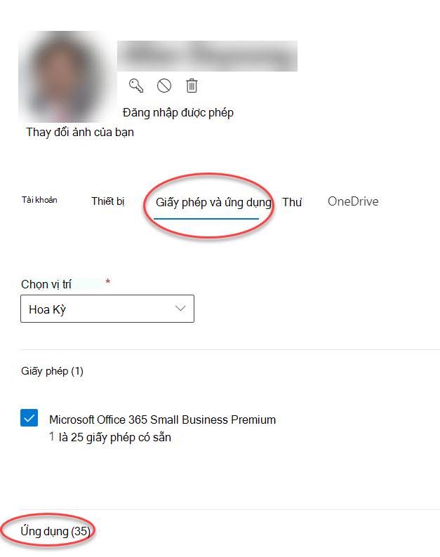 Biểu mẫu tùy chọn tài khoản trong Trung tâm quản trị Microsoft 365