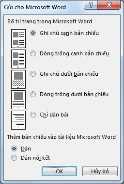 Hộp thoại Gửi đến Microsoft Word