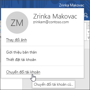 Ảnh chụp màn hình hiển thị cách phù thủy tài khoản trong một ứng dụng Office trên máy tính