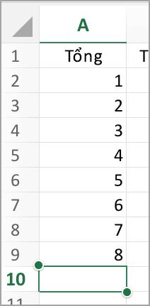 Chọn cột cho tính năng tự động tính tổng