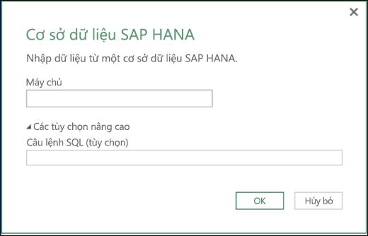 Hộp thoại nhập Cơ sở dữ liệu HANA SAP trong Power BI của Excel
