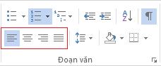 Các tùy chọn căn chỉnh đoạn văn khác nhau có sẵn trên tab NHÀ.