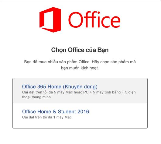Chọn loại giấy phép Office 2016 cho Mac