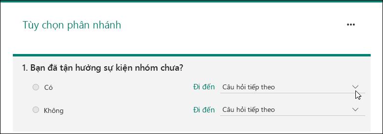 Trang tùy chọn phân nhánh