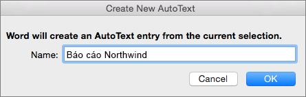 Tạo hộp thoại văn bản tự động mới