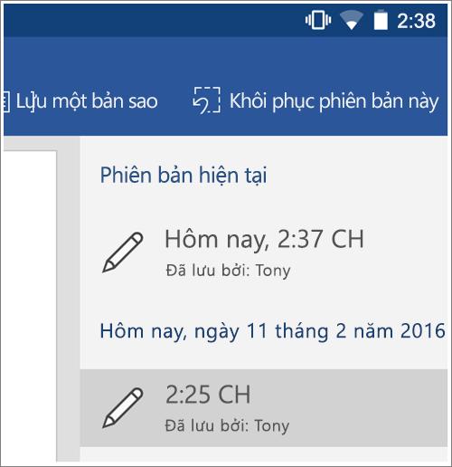 Ảnh chụp màn hình của tùy chọn lịch sử để khôi phục Phiên bản trước đó trong Android.