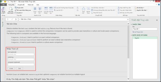 Điều khiển Nhập Trong dòng trong Power BI của Excel cho việc dẫn ra Hàm trong Bộ soạn thảo Truy vấn