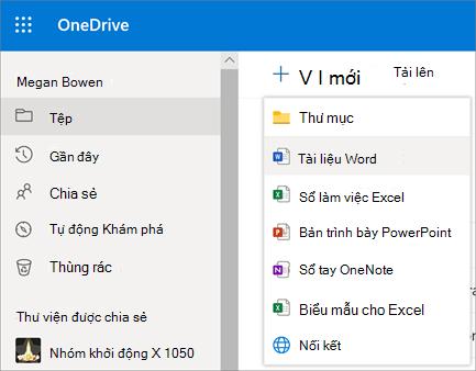 Menu tệp hoặc thư mục mới trong OneDrive for Business