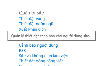 Nối kết cảnh báo người dùng thiết đặt site quản trị site