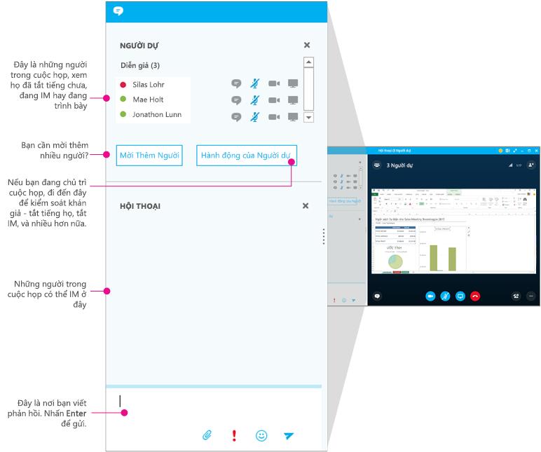Cửa sổ cuộc họp, ngăn IM trong Skype for Business, được vẽ sơ đồ