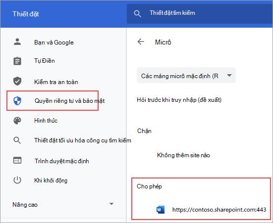 Trang thiết đặt quyền micrô cho Chrome