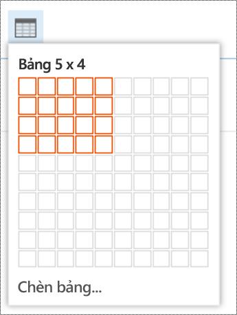 Thêm bảng đơn giản trong Outlook trên web.