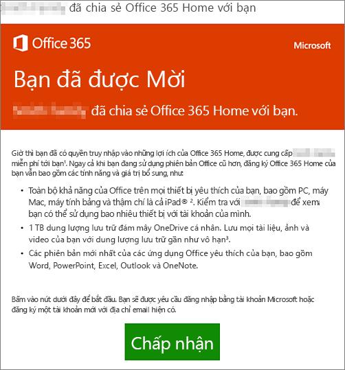 Email thông báo người đã chia sẻ Office 365 Home với bạn