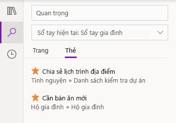 Gắn thẻ kết quả tìm kiếm trong OneNote for Windows 10