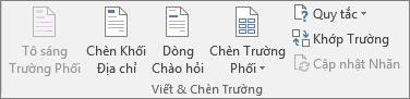 Nhóm Ghi và Chèn trường giúp bạn chèn các trường vào một tài liệu phối.