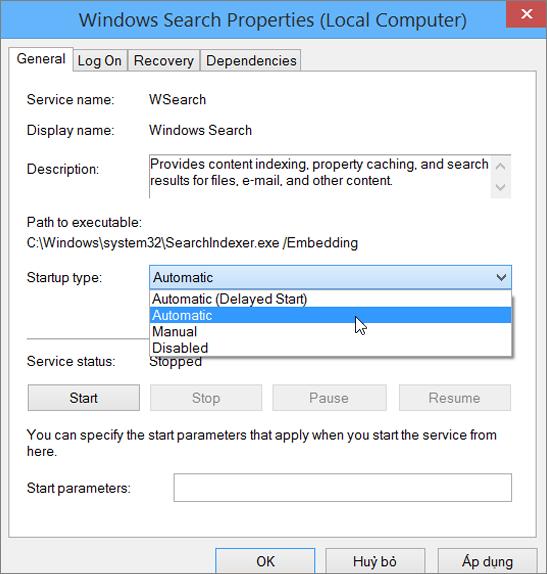 Ảnh chụp màn hình của hộp thoại Windows tìm thuộc tính Hiển thị thiết đặt tự động chọn cho kiểu khởi động.