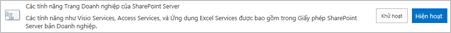 Kích hoạt tính năng trang web SharePoint Server Enterprise