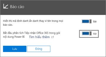 Đặt nút bật tắt sang trạng thái bật để tạo báo cáo ẩn danh