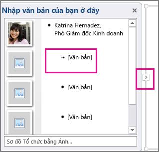 Ngăn Văn bản đồ họa SmartArt với [Văn bản] và điều khiển ngăn Văn bản được tô sáng