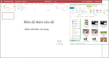 Bản trình bày trống và cửa sổ File Explorer kèm theo hình ảnh