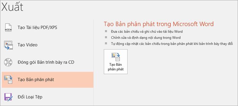 Cắt từ màn hình của giao diện người dùng PowerPoint hiển thị tệp > xuất > tạo bản phân phát.