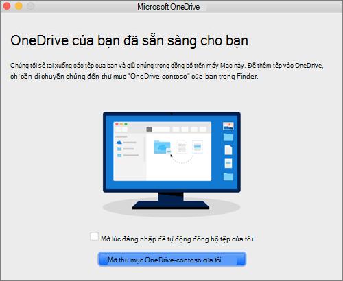 Ảnh chụp màn hình cho màn hình cuối cùng của trình hướng dẫn Chào mừng bạn đến với OneDrive trên máy Mac