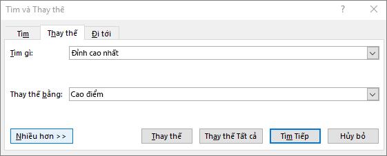 Hộp thoại Tìm và thay thế trong Outlook.