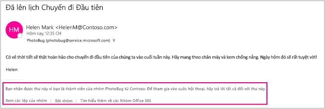 Mọi email khách nhận được từ các thành viên nhóm sẽ có chân trang cùng với hướng dẫn và liên kết