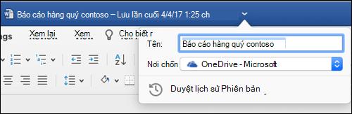 Hộp thoại thao tác tệp được khởi động bằng cách bấm vào thanh tiêu đề của tài liệu Word.