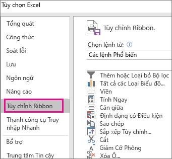 Tệp > Tùy chọn > Tùy chỉnh ribbon