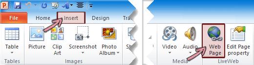 Phần bổ trợ LiveWeb được tìm thấy trên tab chèn của dải băng, ở phía ngoài cùng bên phải
