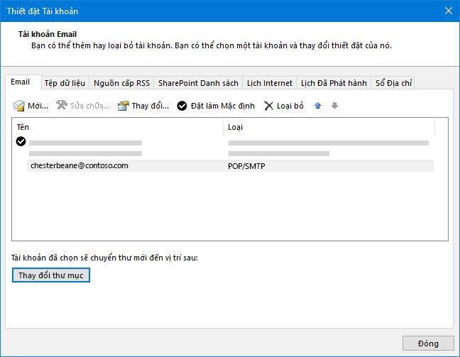 Hộp thoại thiết đặt tài khoản Outlook