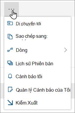 Các tùy chọn di chuyển đến và sao chép sang menu trong dẫn hướng trên cùng cho SharePoint Online khi được chọn tệp hoặc thư mục