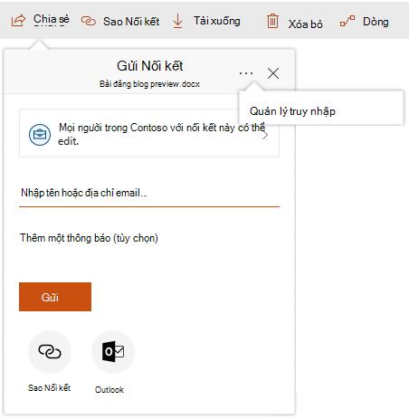 Ảnh chụp màn hình của hộp thoại chia sẻ với truy nhập quản lý nối kết Hiển thị sau khi bấm vào dấu chấm lửng.