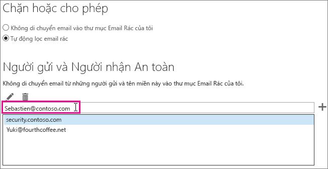 Thêm người gửi an toàn vào Outlook Web App