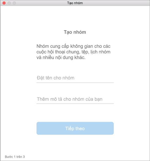 Hiển thị giao diện người dùng tạo nhóm trong máy Mac