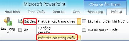 """Tùy chọn """"Phát trên trang chiếu"""" cho tệp âm thanh trong PowerPoint 2010"""