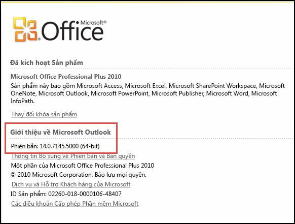 Ảnh chụp màn hình của trang mà bạn có thể kiểm tra phiên bản Outlook 2010 tại đó, bên dưới phần Giới thiệu về Microsoft Outlook