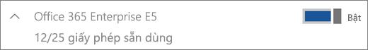 Hiển thị một giấy phép Office 365 Enterprise E5 với 12 giấy phép sẵn dùng.