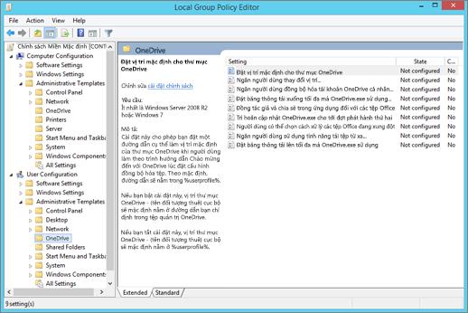Thiết đặt OneDrive trong nhóm chính sách quản lý trình soạn thảo