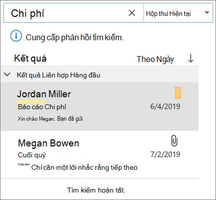 Sử dụng tìm kiếm để tìm email của bạn trong Outlook