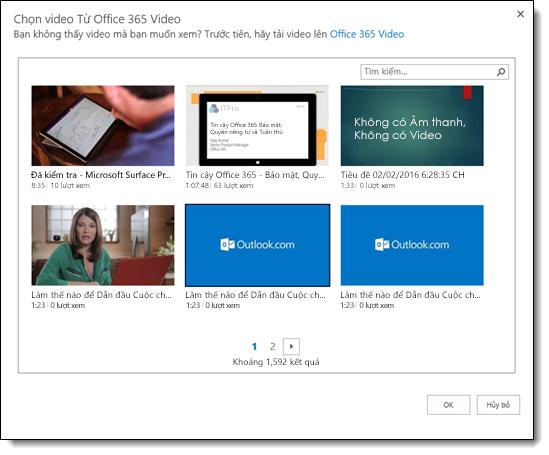 Office 365 Video chọn Video để nhúng