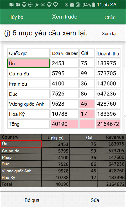 Nhập dữ liệu Excel từ ảnh cung cấp cho bạn có thể sửa bất kỳ vấn đề nào nó tìm thấy khi chuyển đổi dữ liệu của bạn.