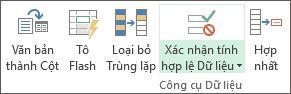 Xác thực Dữ liệu nằm ở tab Dữ liệu, nhóm Công cụ Dữ liệu
